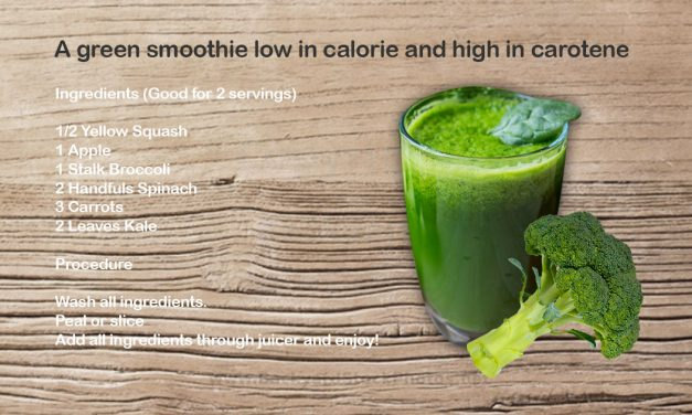 A green smoothie low in calorie and high in carotene