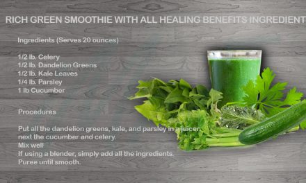 Rich green smoothie with all healing benefits ingredients